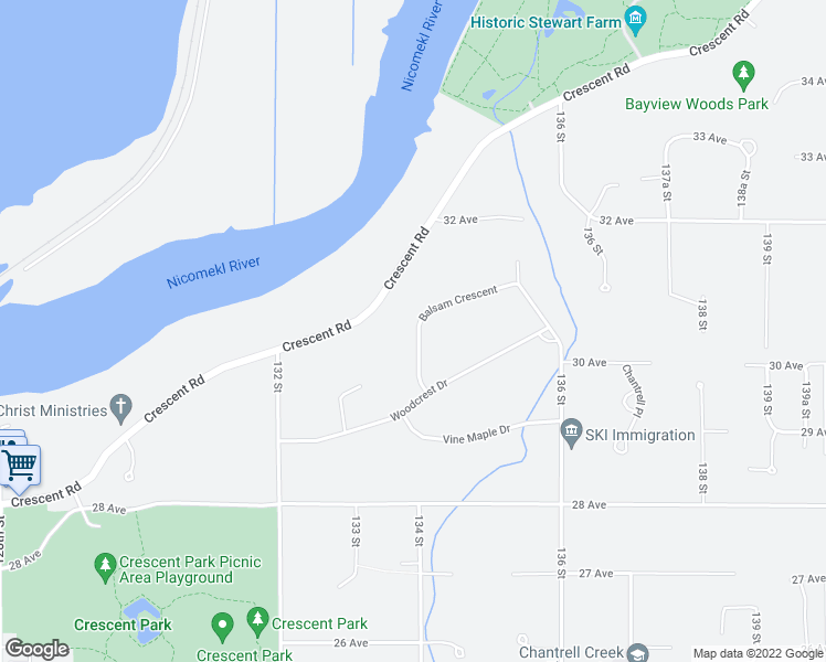 map of restaurants, bars, coffee shops, grocery stores, and more near 3035 Balsam Crescent in Surrey