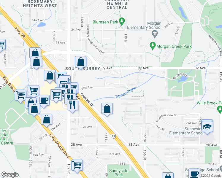 map of restaurants, bars, coffee shops, grocery stores, and more near 15436 31st Avenue in Surrey