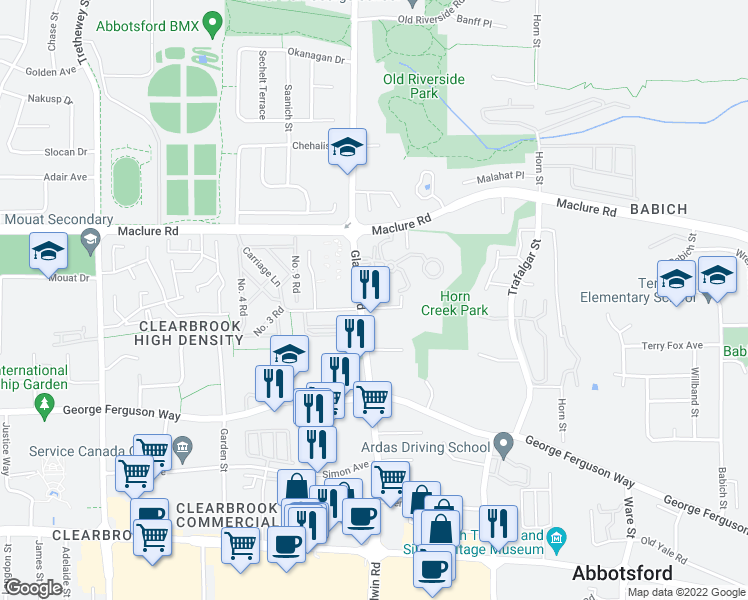 map of restaurants, bars, coffee shops, grocery stores, and more near 3090 Gladwin Road in Abbotsford