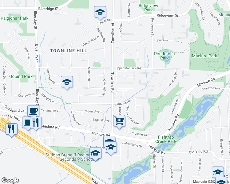 map of restaurants, bars, coffee shops, grocery stores, and more near 3080 Townline Road in Abbotsford