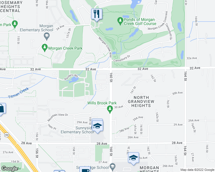 map of restaurants, bars, coffee shops, grocery stores, and more near 3103 160 Street in Surrey