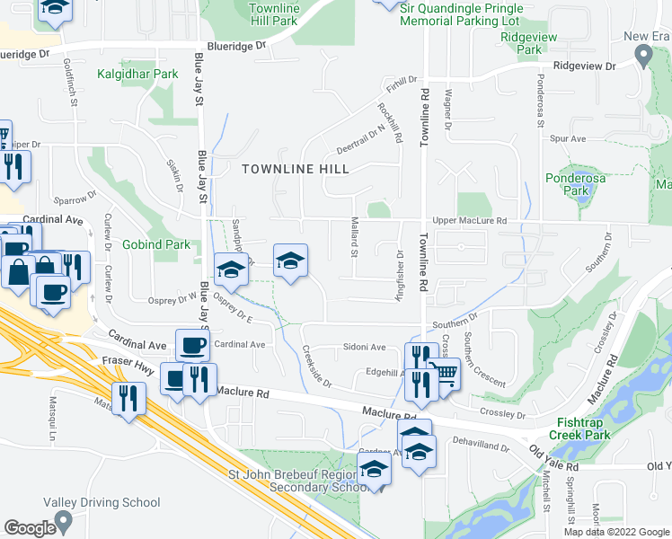 map of restaurants, bars, coffee shops, grocery stores, and more near 3114 Swallow Place in Abbotsford