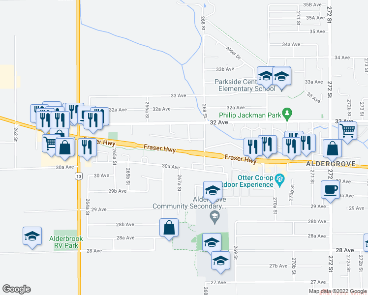 map of restaurants, bars, coffee shops, grocery stores, and more near 26747 Fraser Highway in Langley