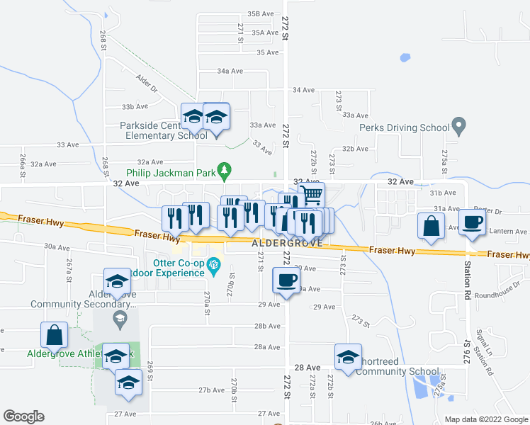 map of restaurants, bars, coffee shops, grocery stores, and more near 3126 271 Street in Langley