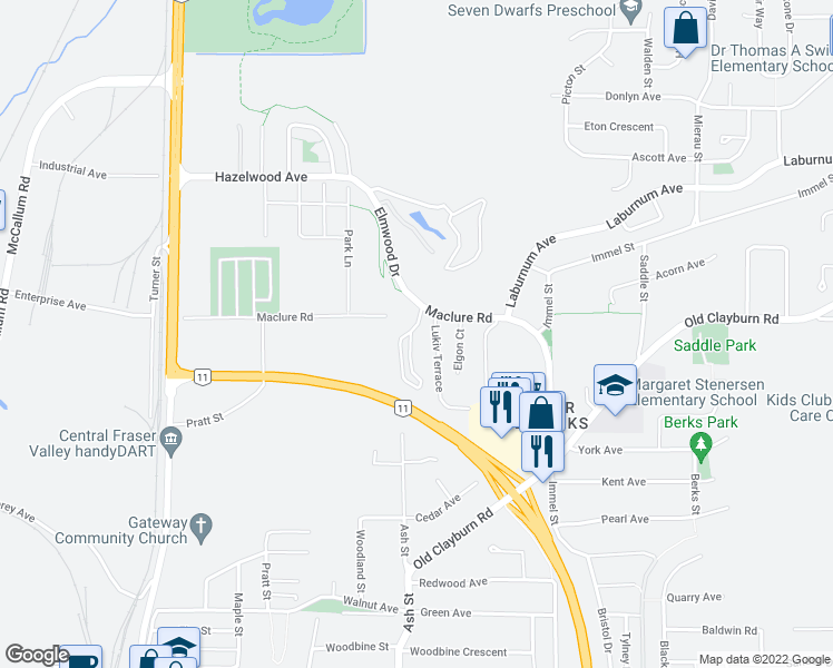 map of restaurants, bars, coffee shops, grocery stores, and more near 34230 Elmwood Drive in Abbotsford