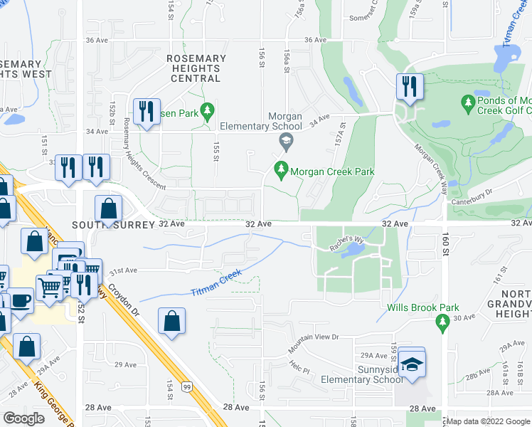 map of restaurants, bars, coffee shops, grocery stores, and more near 16 156A Street in Surrey