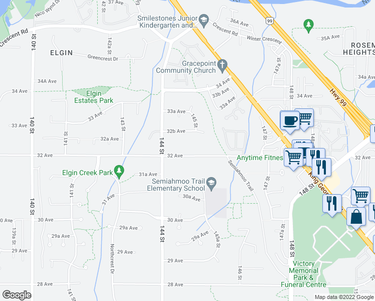 map of restaurants, bars, coffee shops, grocery stores, and more near 14477 32 Avenue in Surrey