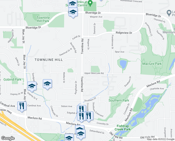 map of restaurants, bars, coffee shops, grocery stores, and more near 31235 Upper MacLure Road in Abbotsford
