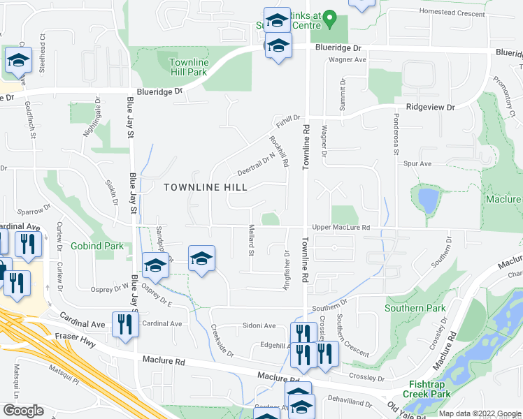 map of restaurants, bars, coffee shops, grocery stores, and more near 31100 Deertrail Drive in Abbotsford