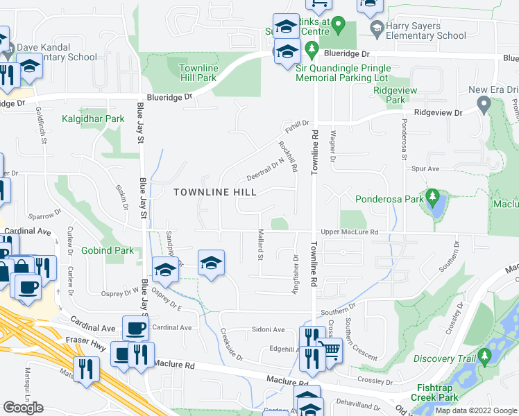 map of restaurants, bars, coffee shops, grocery stores, and more near 31073 Deertrail Drive in Abbotsford