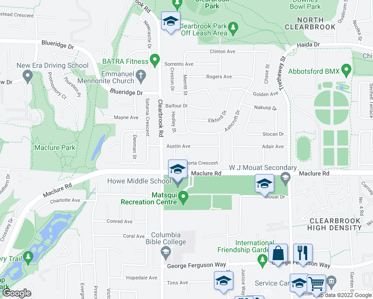 map of restaurants, bars, coffee shops, grocery stores, and more near 32082 Austin Avenue in Abbotsford