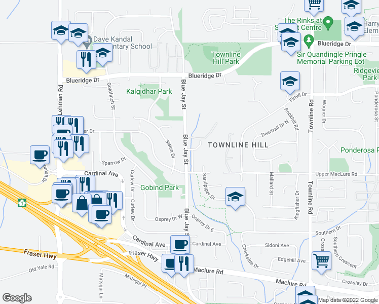 map of restaurants, bars, coffee shops, grocery stores, and more near 3270 Blue Jay Street in Abbotsford