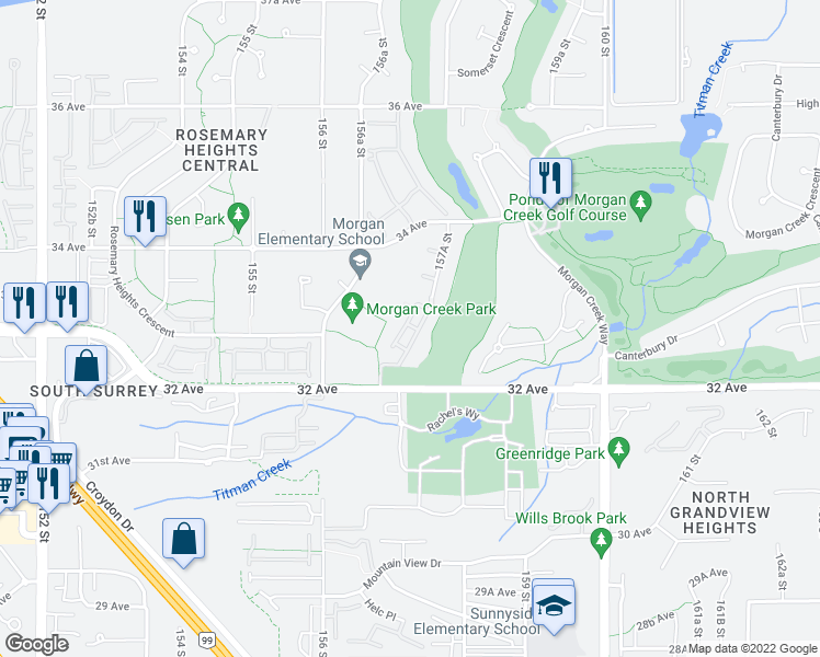 map of restaurants, bars, coffee shops, grocery stores, and more near 3300 157A Street in Surrey