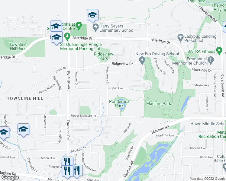 map of restaurants, bars, coffee shops, grocery stores, and more near 31450 Spur Avenue in Abbotsford
