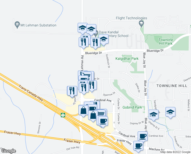 map of restaurants, bars, coffee shops, grocery stores, and more near 30487 Sandpiper Drive in Abbotsford