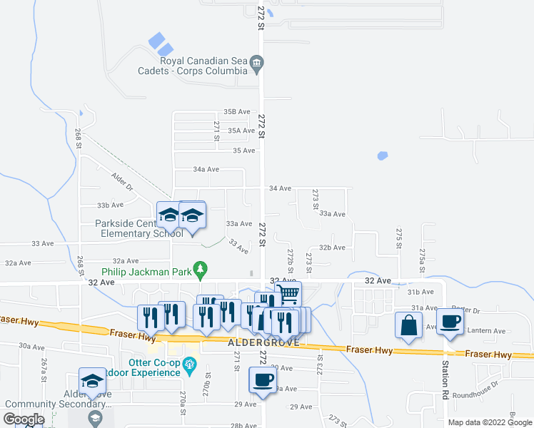 map of restaurants, bars, coffee shops, grocery stores, and more near 3340 272 Street in Langley Township
