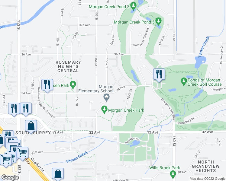 map of restaurants, bars, coffee shops, grocery stores, and more near 15715 34 Avenue in Surrey