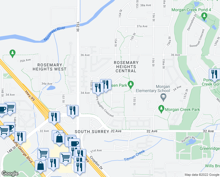 map of restaurants, bars, coffee shops, grocery stores, and more near 15396 34 Avenue in Surrey