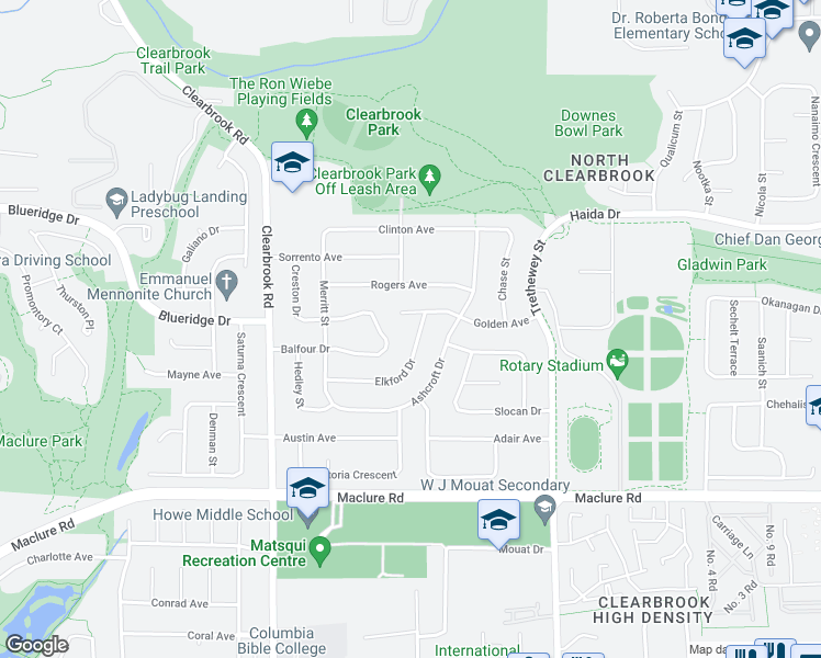 map of restaurants, bars, coffee shops, grocery stores, and more near 3429 Elkford Drive in Abbotsford