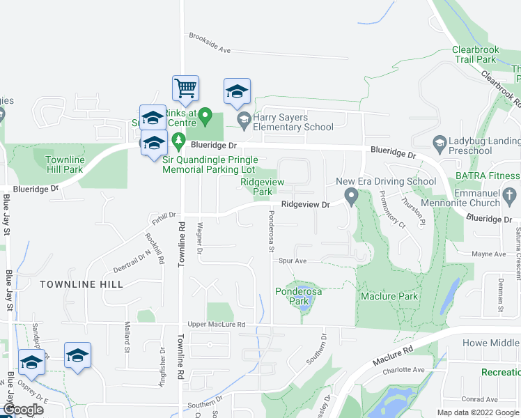 map of restaurants, bars, coffee shops, grocery stores, and more near 31376 Ridgeview Drive in Abbotsford