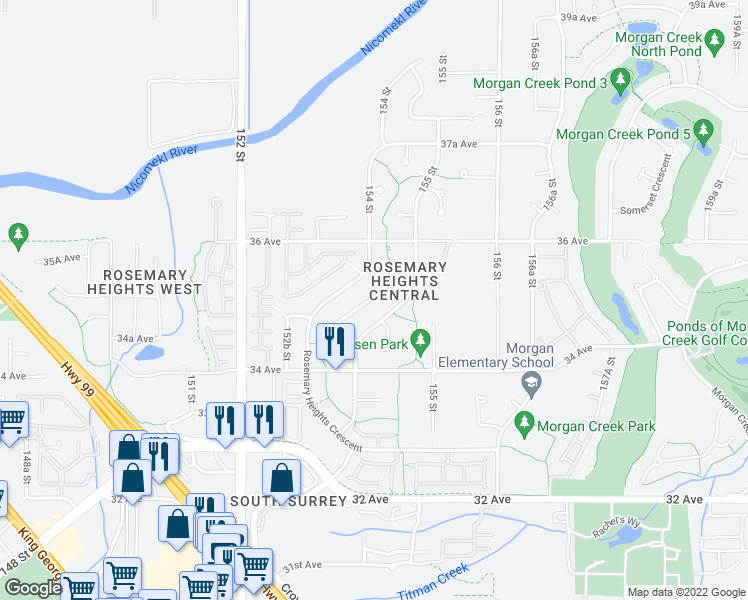 map of restaurants, bars, coffee shops, grocery stores, and more near in Surrey