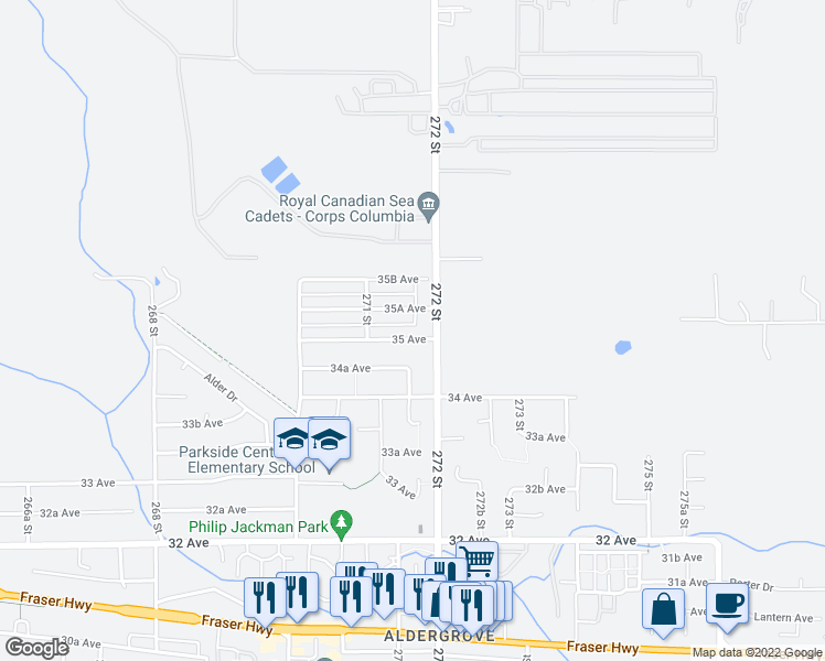 map of restaurants, bars, coffee shops, grocery stores, and more near 27177 35 Avenue in Langley Township