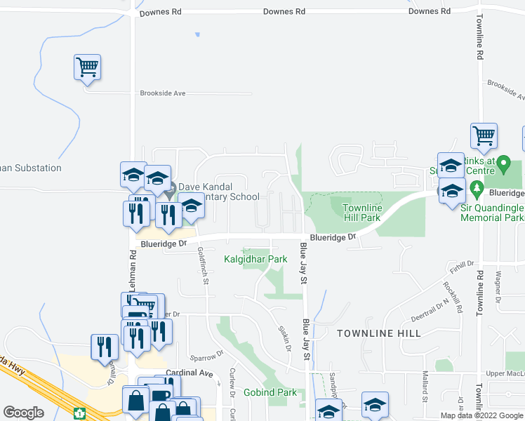 map of restaurants, bars, coffee shops, grocery stores, and more near 30703 Blueridge Drive in Abbotsford