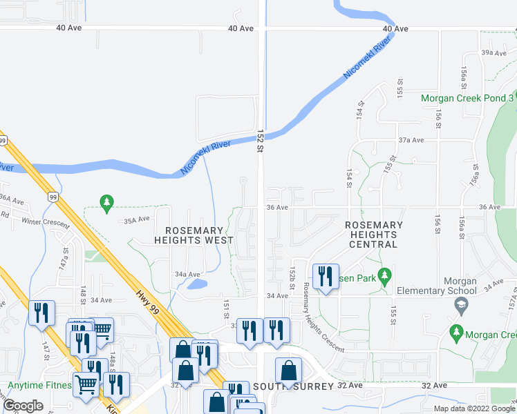 map of restaurants, bars, coffee shops, grocery stores, and more near 15155 36 Avenue in Surrey