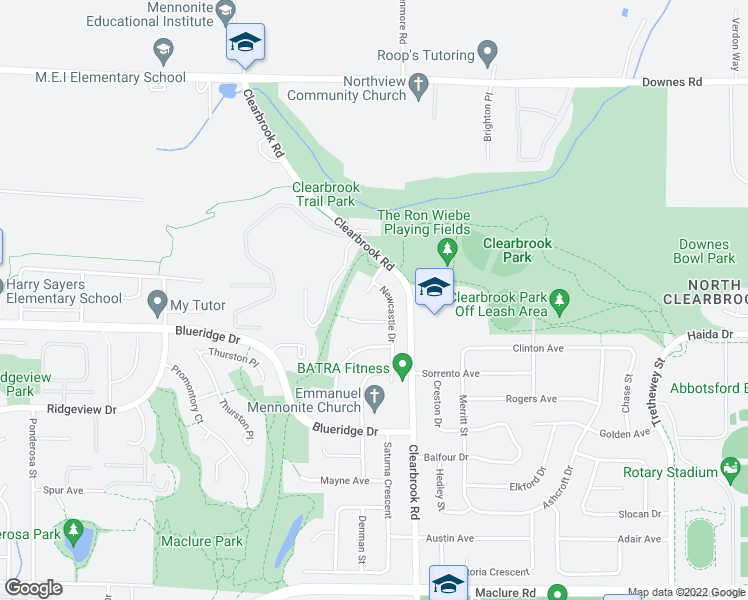 map of restaurants, bars, coffee shops, grocery stores, and more near 3671 Newcastle Court in Abbotsford