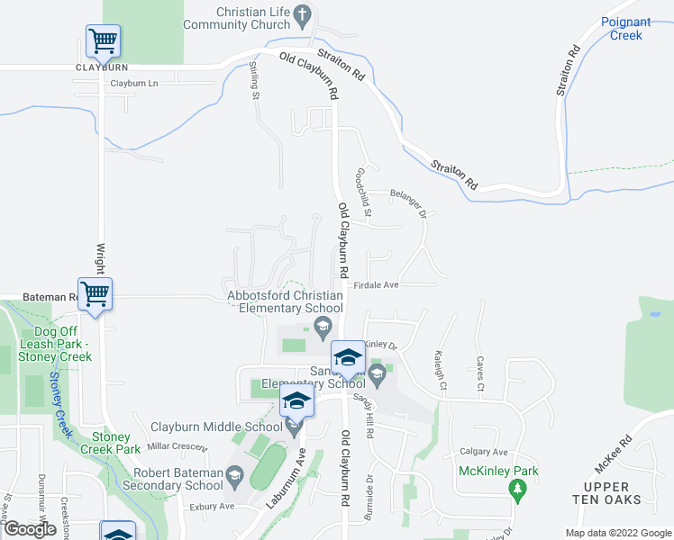 map of restaurants, bars, coffee shops, grocery stores, and more near 4001 Old Clayburn Road in Abbotsford