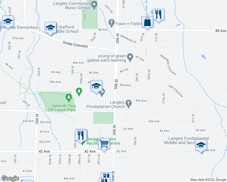 map of restaurants, bars, coffee shops, grocery stores, and more near 4529 208 Street in Langley City