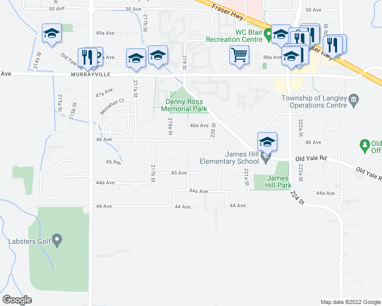 map of restaurants, bars, coffee shops, grocery stores, and more near 4560 219 Street in Langley
