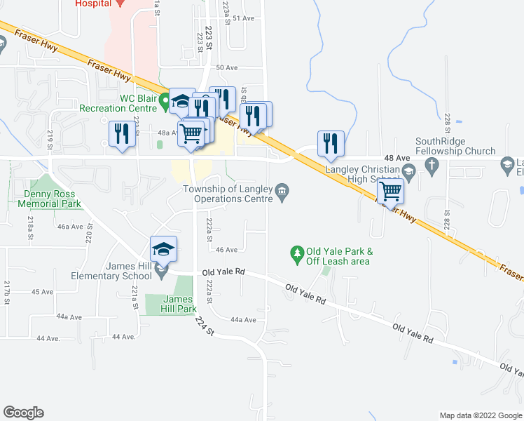 map of restaurants, bars, coffee shops, grocery stores, and more near 4685 224 Street in Langley City