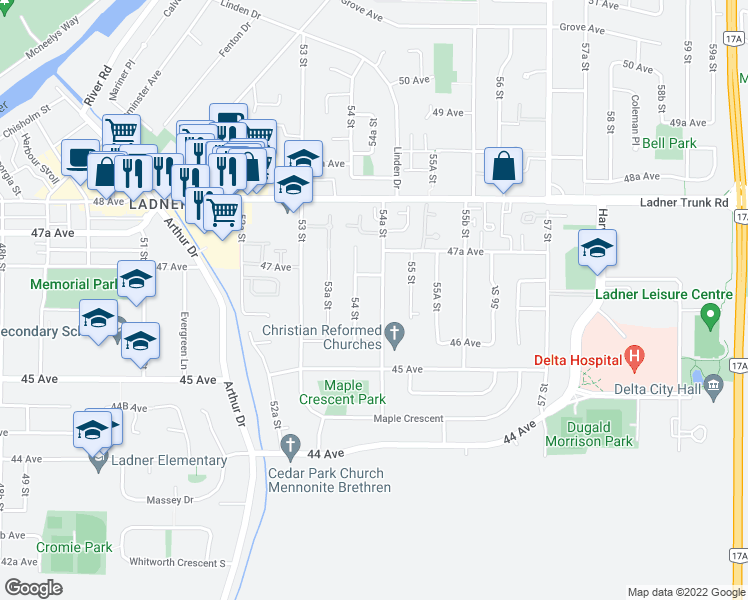 map of restaurants, bars, coffee shops, grocery stores, and more near 4651 54A Street in Delta