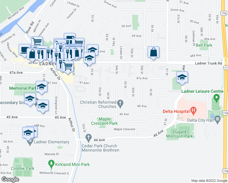 map of restaurants, bars, coffee shops, grocery stores, and more near 4661 54A Street in Delta