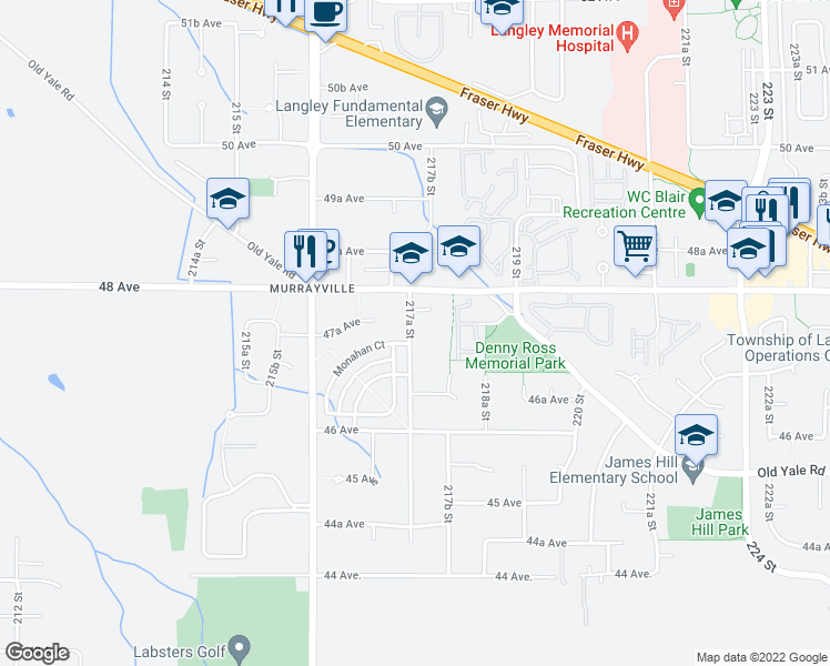 map of restaurants, bars, coffee shops, grocery stores, and more near 4740 217A Street in Langley City