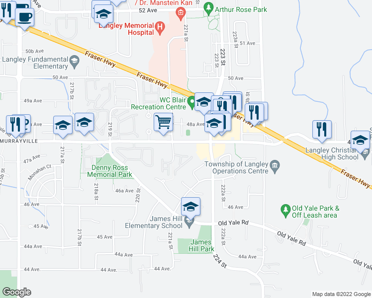 map of restaurants, bars, coffee shops, grocery stores, and more near 22150 48 Avenue in Langley City