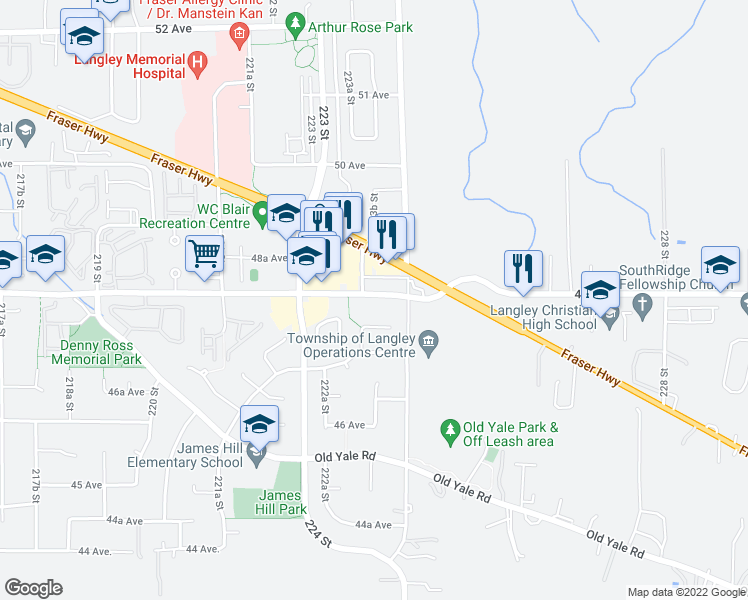 map of restaurants, bars, coffee shops, grocery stores, and more near 22334 48 Avenue in Langley City