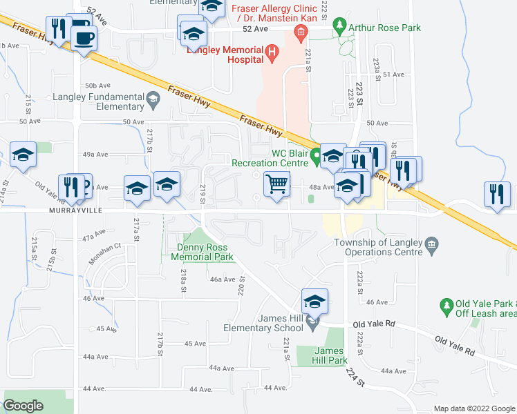 map of restaurants, bars, coffee shops, grocery stores, and more near 22025 48 Avenue in Langley City