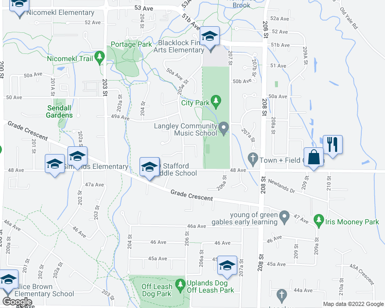map of restaurants, bars, coffee shops, grocery stores, and more near 4861 206 Street in Langley City