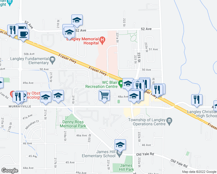 map of restaurants, bars, coffee shops, grocery stores, and more near 22136 49 Avenue in Langley City