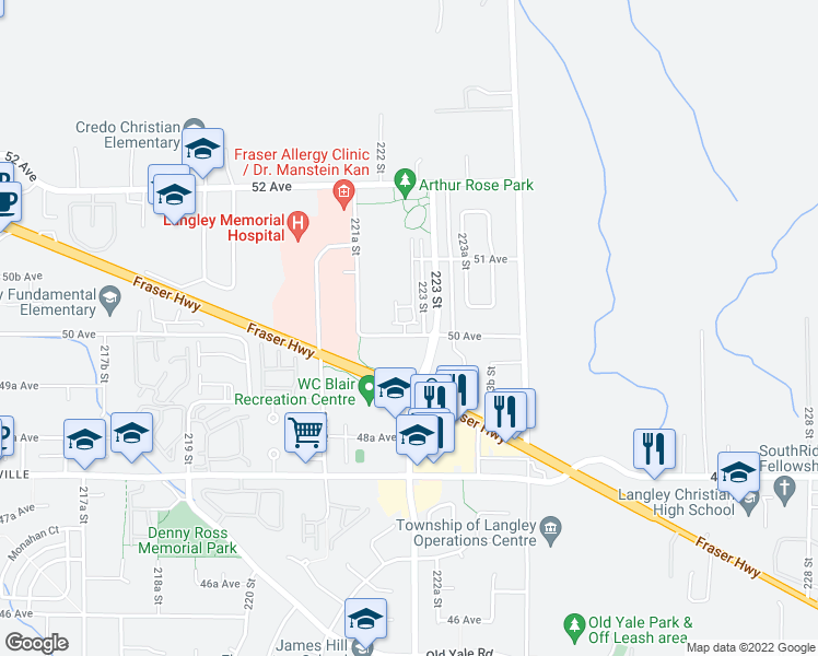map of restaurants, bars, coffee shops, grocery stores, and more near 22225 50 Avenue in Langley