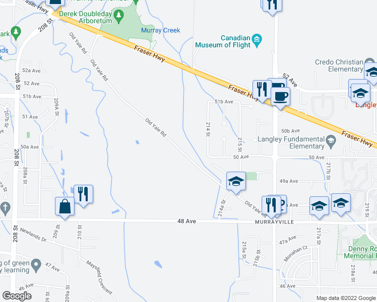 map of restaurants, bars, coffee shops, grocery stores, and more near 21335 Old Yale Road in Langley City