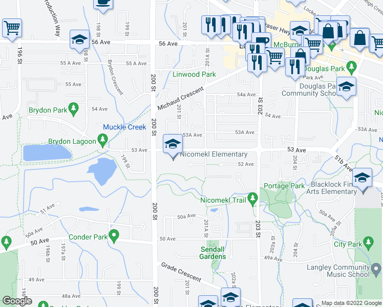 map of restaurants, bars, coffee shops, grocery stores, and more near 20130 53 Avenue in Langley