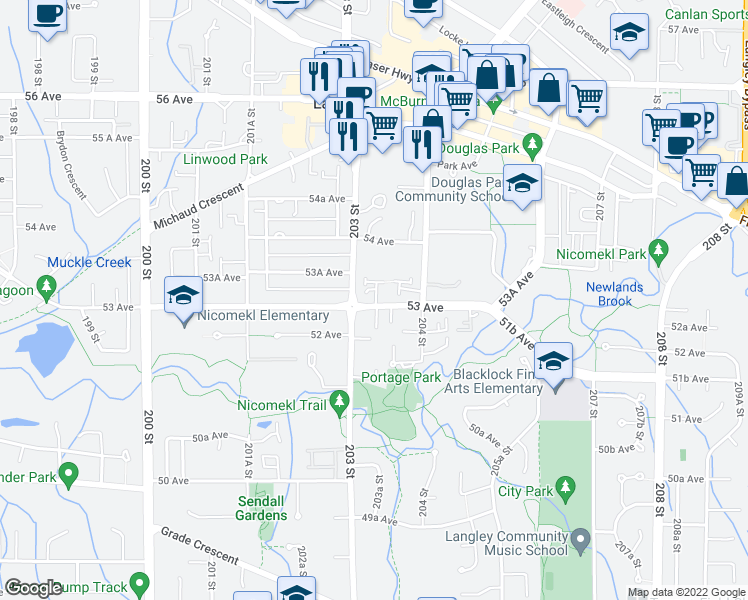 map of restaurants, bars, coffee shops, grocery stores, and more near 20301 53 Avenue in Langley