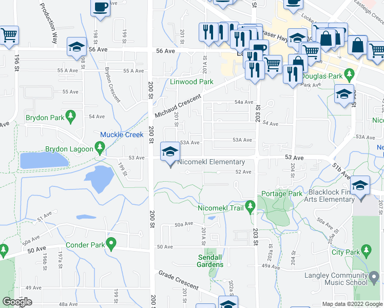 map of restaurants, bars, coffee shops, grocery stores, and more near 20141 53 Avenue in Langley City