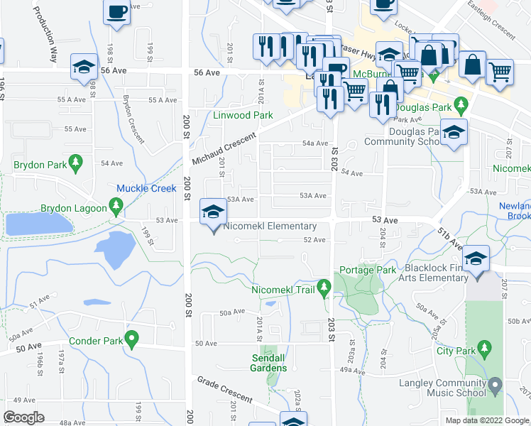 map of restaurants, bars, coffee shops, grocery stores, and more near 20175 53 Avenue in Langley City