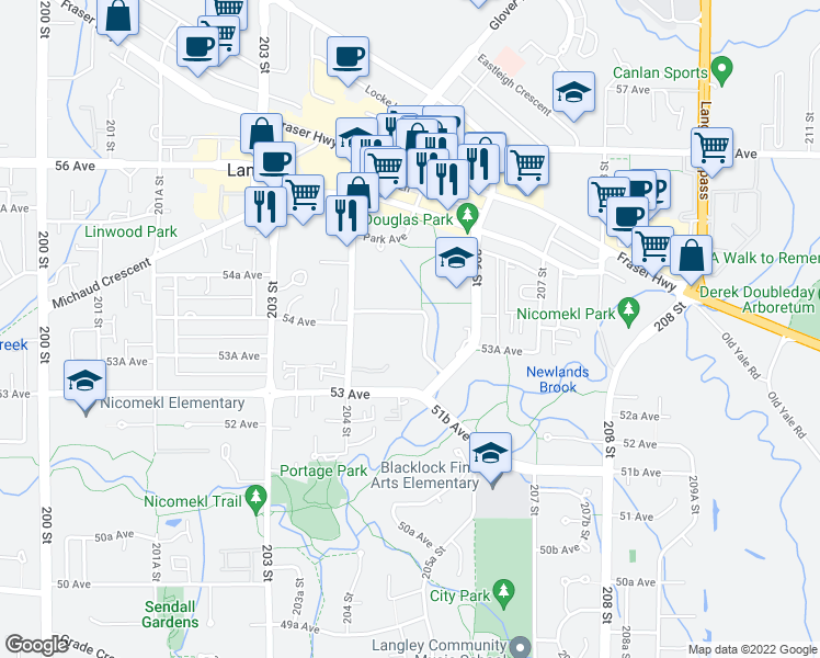 map of restaurants, bars, coffee shops, grocery stores, and more near 5379 205 Street in Langley
