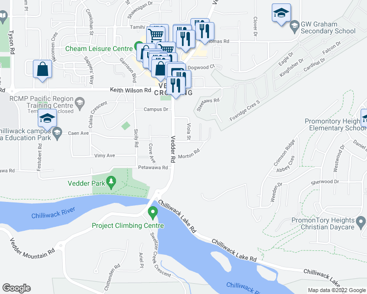 map of restaurants, bars, coffee shops, grocery stores, and more near 45640 Alma Avenue in Chilliwack