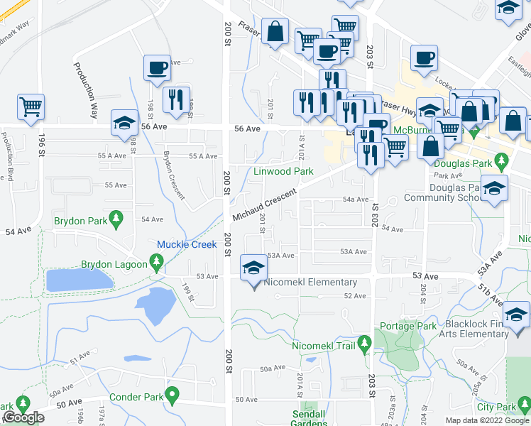 map of restaurants, bars, coffee shops, grocery stores, and more near 5430 201 Street in Langley